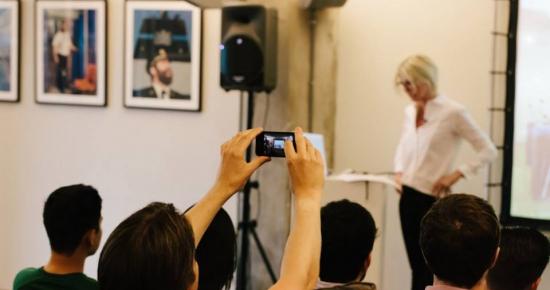 MVGCA (Founder Marina van Goor) as speaker during the Creative Mornings Amsterdam June 2014 theme Minimal
